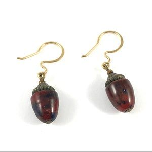 Stunning Gold Red Gemstone Acorn Dangle Earrings